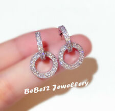 Half Arc/Dangling Circle/Ring Earring/Simulated Diamond/E758