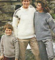 """#290 Mans Aran Sweater 36-46/"""" Vintage Tejer patrón"""