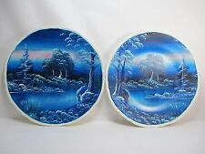 2 Artist Painted Ceramic Plates Beautiful Blue Creek Forest Night Skies Acrylic