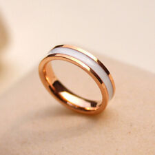 Sz 3-10 Black/White Enamel Rose Gold Plated Titanium Steel Band Men/Women's Ring