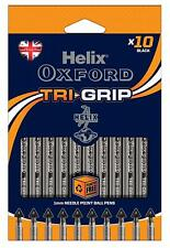Helix Oxford Tri-Grip 1.0mm Line Width Needle Point Tip Pens - BLACK 10 Pack