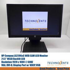 "HP Compaq LA2206XC 21.5"" WEB CAM LCD Monitor VGA, DVI-D, Display Port, USB"