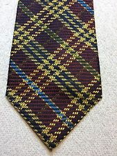 STRUCTURE MENS TIE 4 X 57 BURGUNDY, BLUE, GREEN, GOLD PLAID PATTERNVINTAGE