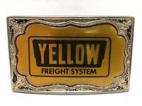 "Vintage Yellow Freight Systems Achievement Belt Buckle 2.25"" x 3.50"" VTG"