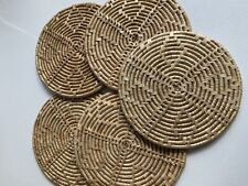 Set Of 5 Vintage Mid Century Wicker Woven Rattan Placemats