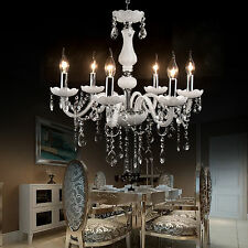 White Elegant Crystal Chandelier Pendant 6 Ceiling Light Lamp Fixture Lighting