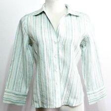 Rafaella Ladies Aqua and White Striped Linen Button Down Petites Shirt Size 10P