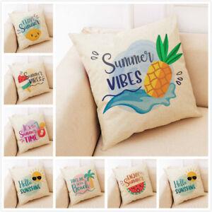 Sofa Pillow Case Cushion Cover Cartoon Summer Time Fruits Linen Home Decorative