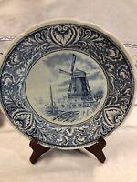 """Vintage Cobalt Blue Boch Delft 9 3/4"""" Charger Plate~Royal Spinx~Holland"""