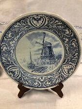 "Vintage Cobalt Blue Boch Delft 9 3/4"" Charger Plate~Royal Spinx~Holland"