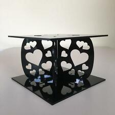 "Hearts Square Black Cake Pillars/Separators (for Weddings/Parties) 6""-12"""
