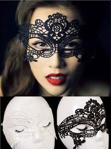 Black or White Lace Masquerade Eye Masks Halloween, Fancy Dress Party