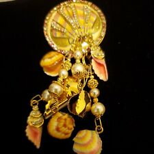 Lunch At The Ritz By the Sea Shell Brooch NWOT Retired NWOT,  NEVER WORN NWOT