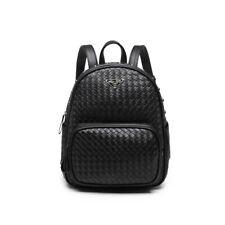 Ladies Black Backpack Weave Detail Faux Leather Women Designer Shoulder Bag