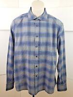 Pronto Uomo Blue Mens Long Sleeve Button Down XL Slim Fit Blue Black Gray Shirt