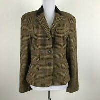 Chaps Womens Brown Glen Plaid Equestrian Blazer Wool Blend Career Sz 14