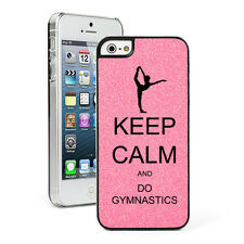 For Apple iPhone 4 4S 5 5S 5c GLITTER Bling Hard Case Keep Calm Do Gymnastics