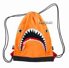 SHARK string bag Morn Creations ORANGE backpack tale gym cinch great white jaws