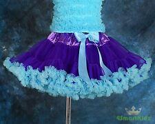 Tulle Pettiskirt Tutu Skirt Dancewear Party Holiday Girl Purple Blue Sz 6-7 002A