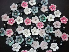 3D Nail Art Schleifen Blumen Rosen mit Strassstein 3D Decoration 12 Stücke