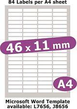46x11mm 420 étiquettes MATT Livre blanc 5 feuilles A4 copieur laser jet d'encre autocollants