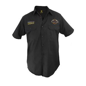 Wests Tigers NRL Short Sleeve Button Work Shirt: BLACK Workwear Gift Tradies