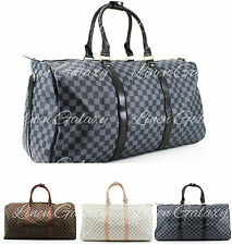 Women Ladies Checkered Print Holdall Duffle Gym Travel Bag Hand Luggage Baggage