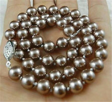 "8mm Silver Champagne South Sea Shell Pearl Necklace 18"" AAA+"