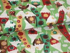 Tante Ema Weihnachtsstoff, Wintervögel, Vogelhaus, Vogelvilla, Vogel, grün-bunt
