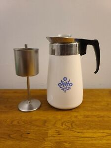 VTG Corning Ware Coffee Carafe Pot Cornflower Blue 9 Cup Complete/CLEAN