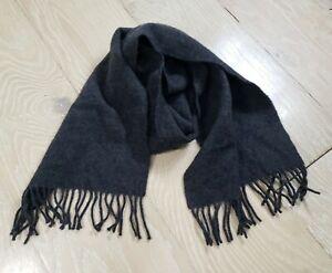 Jos A Bank 100% Cashmere Knit Soft Dark Grey Neck Scarf with Fringe