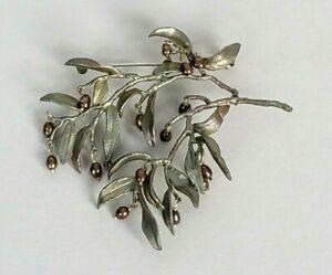 Michael Michaud Bronze Pin Brooch Silver Seasons Double Branch Pearls Custom Vtg