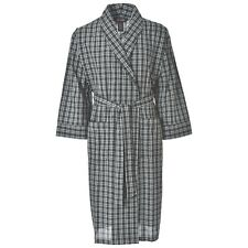 Hanes Men's Woven Shawl Robe, Black Plaid, Medium/Large