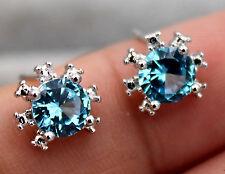 18K White Gold Filled - 6mm Sunflower Blue Topaz Zircon Gems Stud Women Earrings