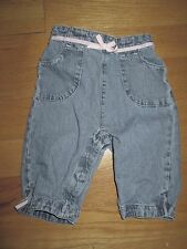 Infant Girls Blue HEALTHTEX 100% Cotton Denim Jeans w/ Pink Ribbon - 0-3 Months