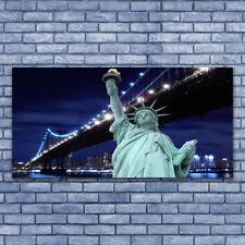 Leinwand-Bilder Wandbild Leinwandbild 140x70 Brücke Freiheitsstatue Skyline