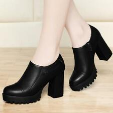 Womens Punk Gothic High Block Heels Platform Ankle Boots Side Zip Shoes pumps