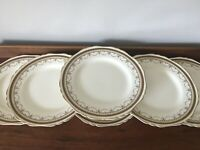 "6 1920s Hancock & Sons Corona ware gold and Greek key design 10"" dinner plates"
