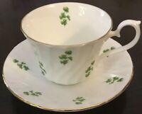 Staffordshire Royal Kendal Green Shamrock Leaf Cup Saucer Swirl Bone China~White