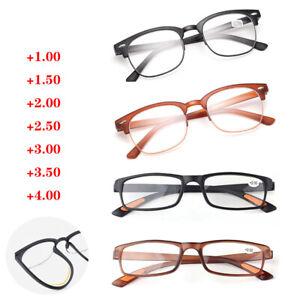 Reading Glasses Black Brown Plastic Half Frame Eyewear +1.0 +1.5 +2.0 +3.0 +4.0