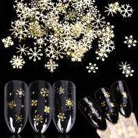 DIY Nail Art Christmas Snowflake Glitter Gold 3D Sequins Manicure Decoration