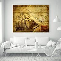 Pirate Ship Treasure World Map Vintage Silk Canvas Poster Art Paint Decor 43A