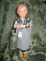 """VINTAGE 13"""" CELLULOID & CLOTH DOLL - BELGIUM - BEAUTIFUL OUTFIT - WOODEN SHOES"""