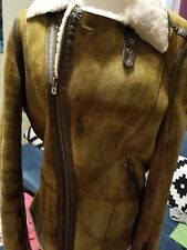 Women's Diesel Leather Shearing Jacket M in green/ Brown