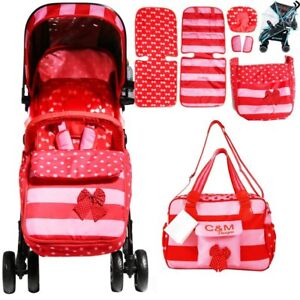 iSafe OPTIMUM Stroller - BOW Dots + Mama BAG Design The Best Stroller In The Wor