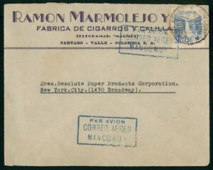 Mayfairstamps Colombia 1946 Ramon Marmolejo Resolute Paper Products Cover wwo_51