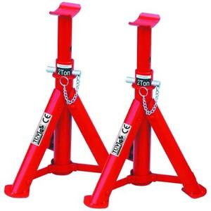 HEAVY DUTY HILKA 2 TON TONNE FOLDING AXLE STAND STANDS JACK IN RED PAIR 82420040