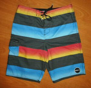 O'Neill Men's Heather Gray Blue Orange Striped Non-Stretch Board Shorts Size 29
