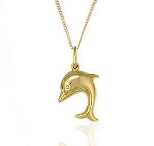 """9ct Gold Dolphin Pendant & 18"""" 9ct Gold Chain."""