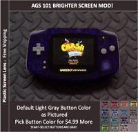 Nintendo Game Boy Advance System AGS101 Backlit Mod-Plastic Screen -CLEAR PURPLE